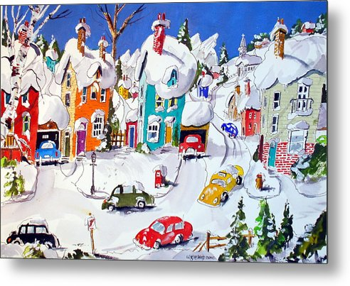 Snow Village Scene Town Houses Winter Quebec Metal Print featuring the painting La Ville Grand Mere by Wilfred McOstrich