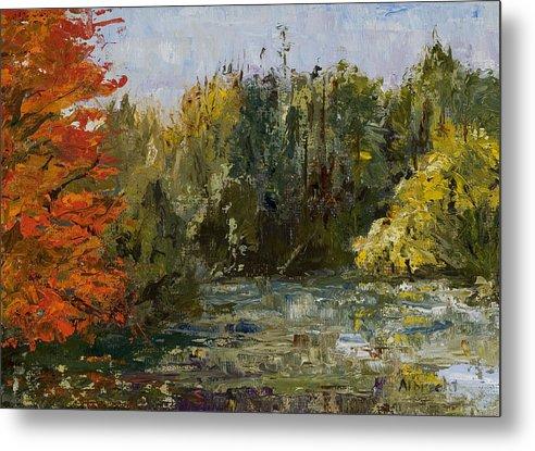 Morton Arboretum Scene Metal Print featuring the painting Autumn Pond by Nancy Albrecht