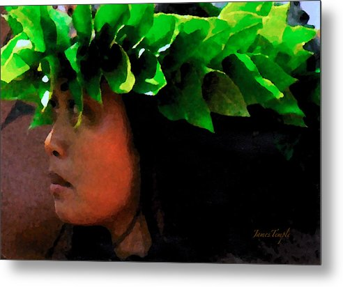 Hula Metal Print featuring the digital art Molokai Wahine Dancer by James Temple