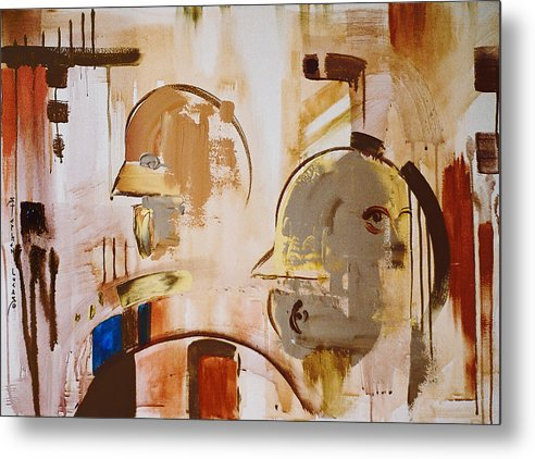 Abstract Metal Print featuring the painting What is Identity by Stephen Lucas