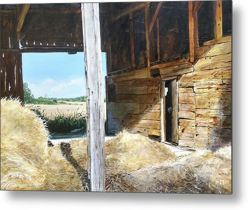 Barn Metal Print featuring the painting While The Sun Shines by William Brody