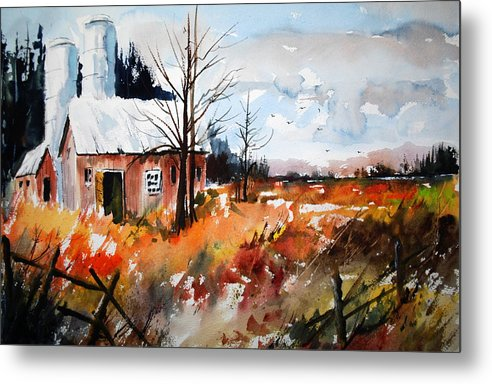 Fall Colours Open Fields Autumn Farms Landscapes Rustic Scenes Metal Print featuring the painting September Song Two by Wilfred McOstrich