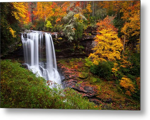 Waterfalls Metal Print featuring the photograph Autumn at Dry Falls - Highlands NC Waterfalls by Dave Allen