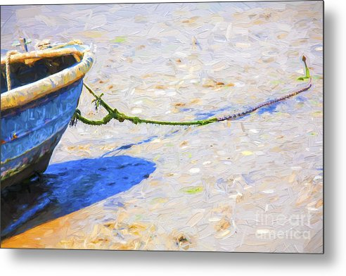 Abstract Metal Print featuring the photograph Blue boat on mudflat by Sheila Smart Fine Art Photography