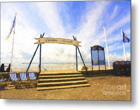 Jubilee Beach Metal Print featuring the photograph Jubilee Beach Southend On Sea by Sheila Smart Fine Art Photography
