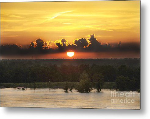 Sunset On The River Metal Print featuring the photograph Mississippi Sunset by Leon Hollins III