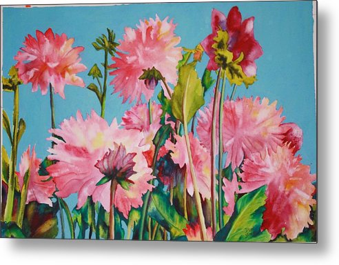 Floral Metal Print featuring the painting Dahlias Victoria by Diane Ziemski