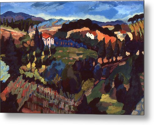 Landscape Metal Print featuring the painting Italian Town Of Vinci by Doris Lane Grey