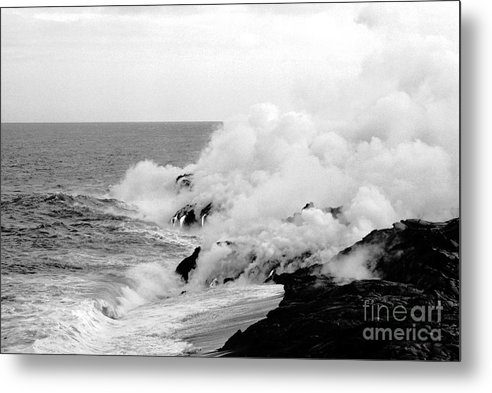 Lava Metal Print featuring the photograph Lava flowing to the sea by Susan Chandler