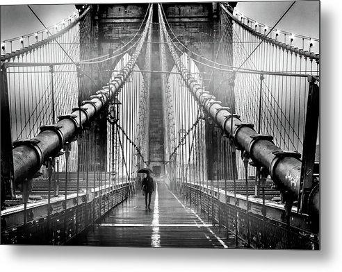 Brooklyn Bridge Metal Print featuring the photograph Mystery Manhattan by Az Jackson
