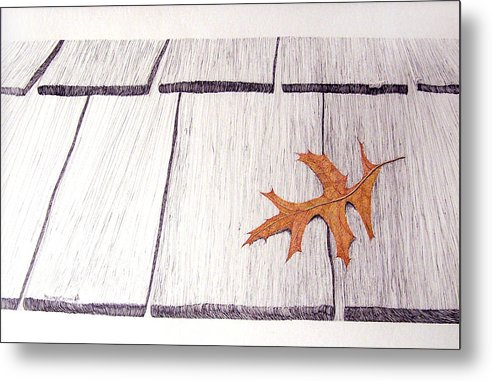 Still Life. Dry Leaf Metal Print featuring the drawing The Loner by A Robert Malcom