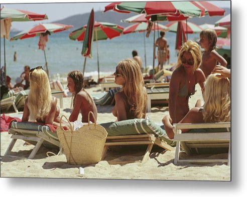 Child Metal Print featuring the photograph Saint-tropez Beach by Slim Aarons