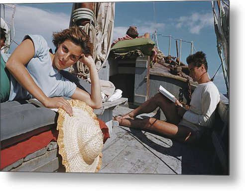 Straw Hat Metal Print featuring the photograph Capri Cruise by Slim Aarons