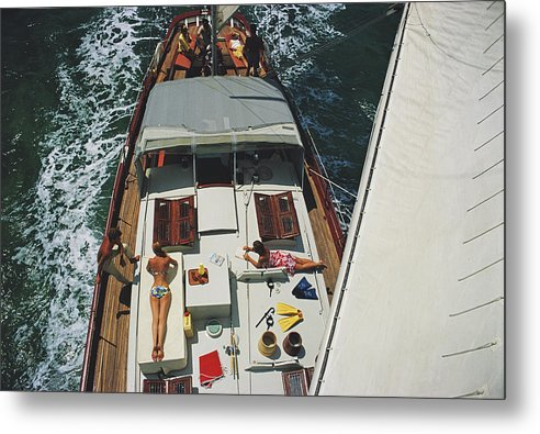 Sunbathing Metal Print featuring the photograph Deck Dwellers by Slim Aarons