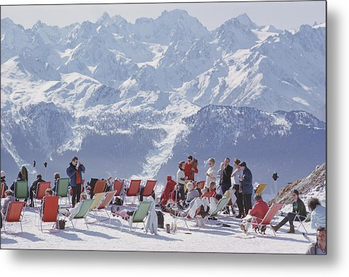 People Metal Print featuring the photograph Lounging In Verbier by Slim Aarons