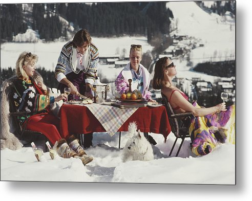 People Metal Print featuring the photograph Luxury In The Snow by Slim Aarons