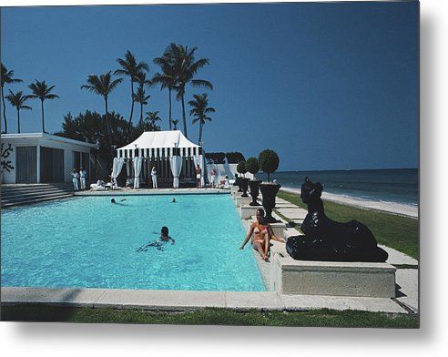 1980-1989 Metal Print featuring the photograph Molly Wilmots Pool by Slim Aarons