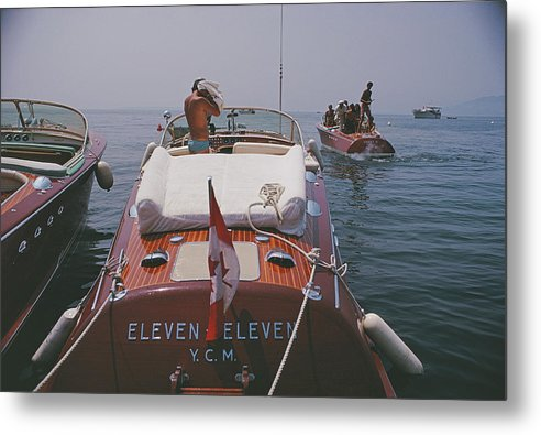 People Metal Print featuring the photograph Motorboats In Antibes by Slim Aarons