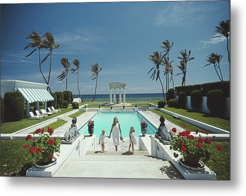 1980-1989 Metal Print featuring the photograph Neo-classical Pool by Slim Aarons