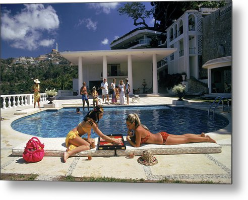 People Metal Print featuring the photograph Poolside Backgammon by Slim Aarons