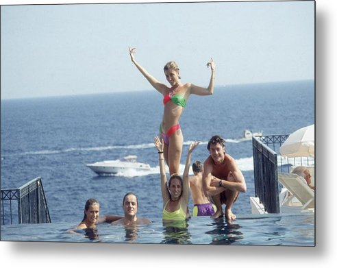 Young Men Metal Print featuring the photograph Posing At Cap Ferrat by Slim Aarons