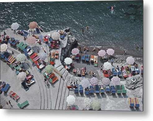 Curve Metal Print featuring the photograph Positano Beach by Slim Aarons