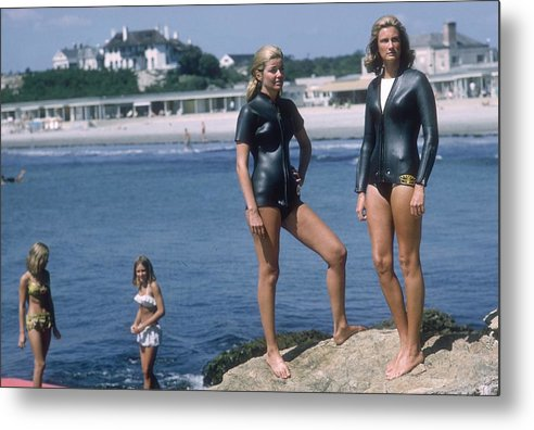 Mid Adult Women Metal Print featuring the photograph Swimmers At Newport by Slim Aarons