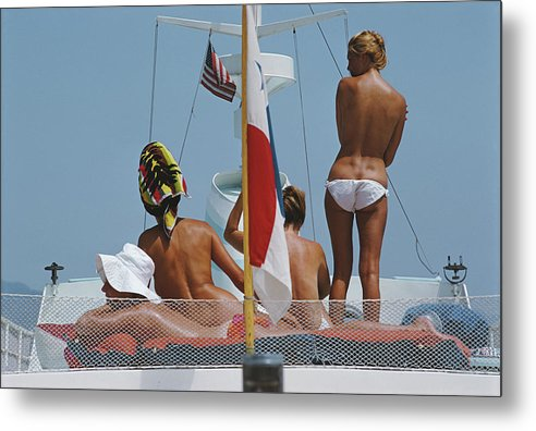 People Metal Print featuring the photograph Yacht Holiday by Slim Aarons