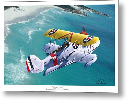 Aviation Metal Print featuring the painting Unsung Hero - Grumman J2F Duck by Mark Karvon