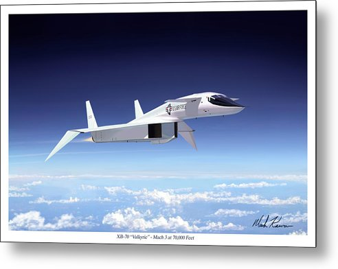 Aviation Metal Print featuring the painting Valkyrie - Mach 3 At 70000 Feet by Mark Karvon