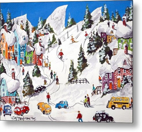 Whimsical Sports Skiing Downhill Winter Snow Fun Metal Print featuring the painting Downhill All Ther Way by Wilfred McOstrich
