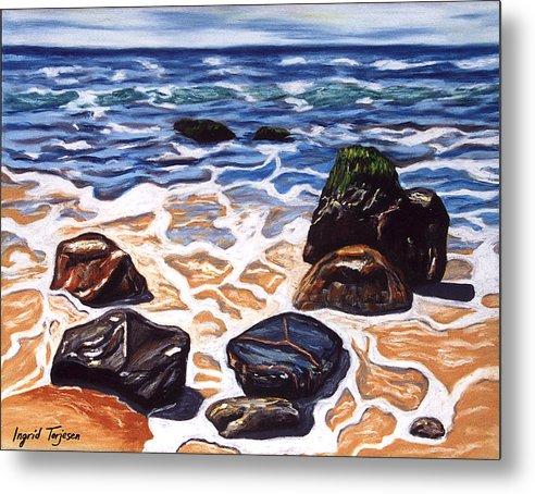 Rocks Metal Print featuring the painting Half Circle Rocks by Ingrid Torjesen