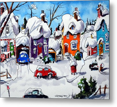 Snow Winter Houses Villages Homes Quebec Metal Print featuring the painting Home Sweet Home by Wilfred McOstrich