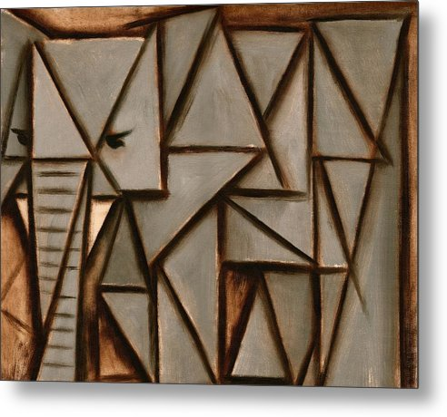 Elephant Metal Print featuring the painting Tommervik Triangle Elephant Art Print by Tommervik