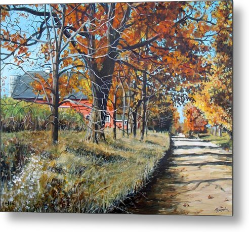 Barn Metal Print featuring the painting October Road by William Brody