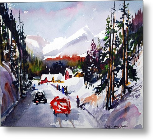Snow Skiing Winter Sports Snow On Mountains Alpine Metal Print featuring the painting Powder and Sunshine by Wilfred McOstrich