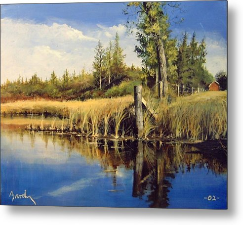 Landscape Metal Print featuring the painting Along The Way by William Brody