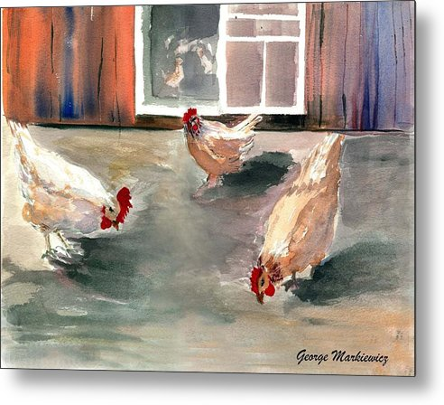 Farm Aniimals Metal Print featuring the print Chickens in the Barnyard by George Markiewicz