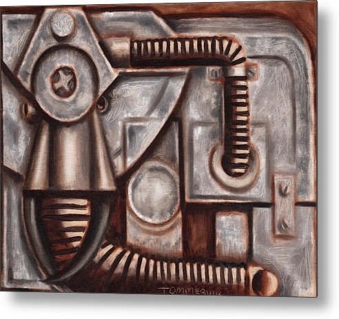 Elephant Metal Print featuring the painting Industrial Elephant Art Print by Tommervik