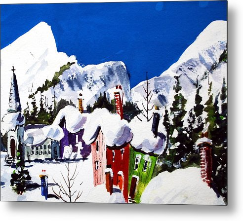 Quebec Snow Skiing Towns Winter Snow Fun Image Metal Print featuring the painting Ste.Adele Quebec by Wilfred McOstrich