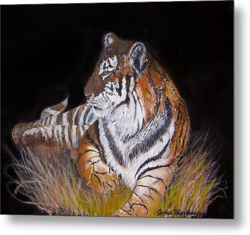 Tiger Metal Print featuring the print Tiger Tiger Burning Bright by George Markiewicz