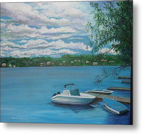 Lake Metal Print featuring the painting Lake Quinsigamond In Massachusetts Acrylic by Rebecca Marona