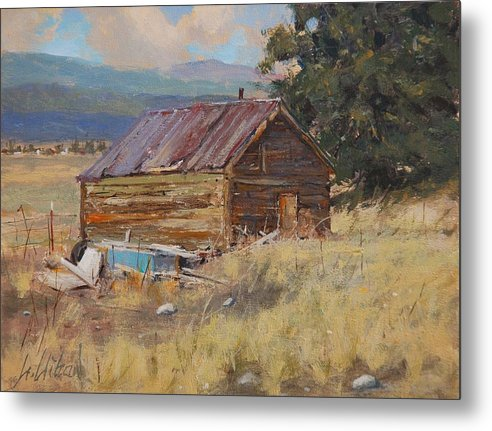 Landscape Metal Print featuring the painting Cripple Creek Cabin by Greg Clibon