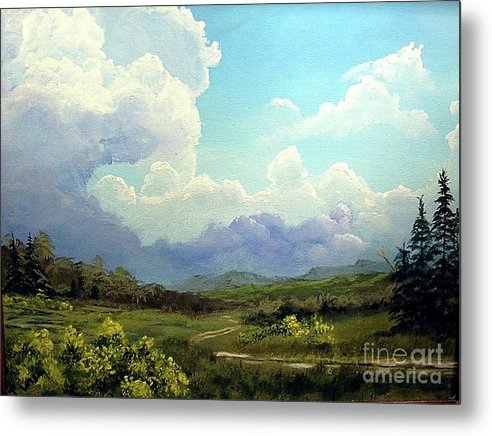 Clouds Metal Print featuring the painting Scotch Broom by John Wise