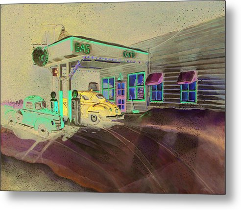 Rick Huotari Metal Print featuring the painting Times Past Gas Station by Rick Huotari