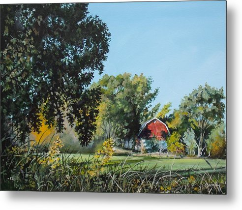 Farm Metal Print featuring the painting Tucked Away by William Brody