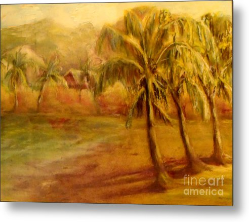 Oil Pastel Metal Print featuring the painting Hawaii Beach by Patricia Halstead