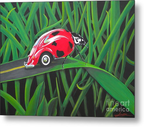 Bug Metal Print featuring the painting Junk In The Trunk by Lynn Masters