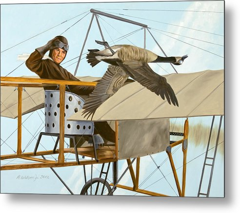 Aviator Metal Print featuring the painting The Fledgling by Karen Wilson