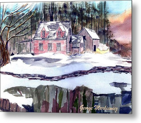 Landscape Cape Cod House Metal Print featuring the print Cape Cod House by George Markiewicz
